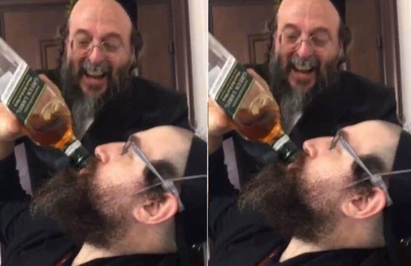 חסיד מרוקן בקבוק ויסקי בשלוק אחד
